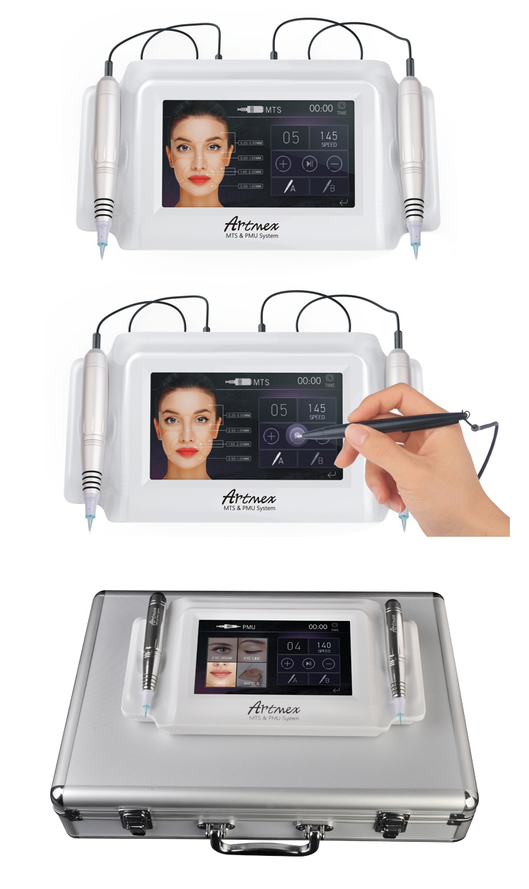 Microneedling pen digitale tattoo machine 2 in 1 touch screen permanente make-up apparaat