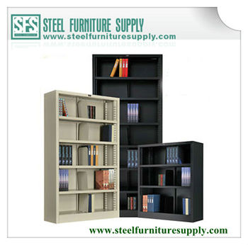 Open Shelf Metal Bookcase Book Storage Cabinet Without Door