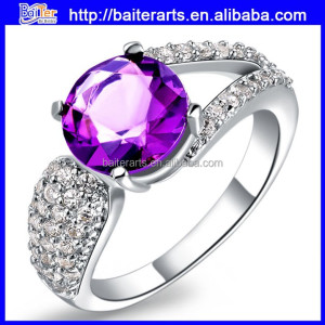 Fashion 18K White Gold Engagement Rings Amethyst Hot Sale Ring