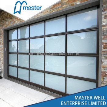 Glazed Glass Garage Door / Aluminum Glass Sectional Garage Door
