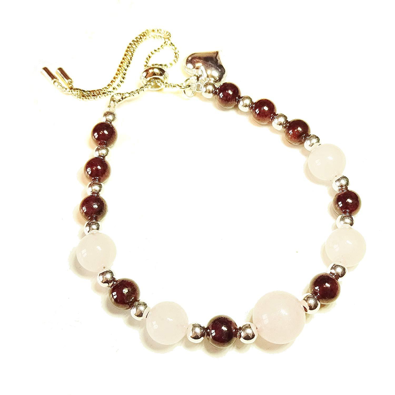 Gemstone Slider Chain Bracelet - Rose Quartz & Red Garnet