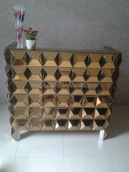 Merveilleux Fashionable Bronze Glass Mirrored Furniture Reception Desk