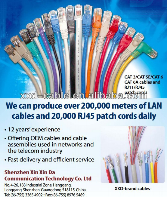 Bare Copper RJ45 UTP CAT6 ethernet jumper cable with ROHS PVC Jacket