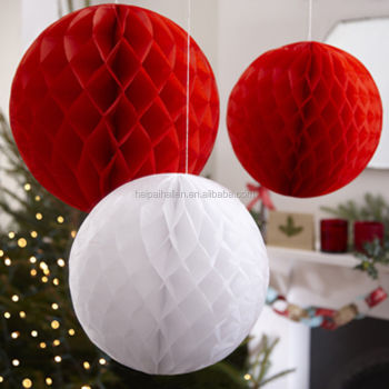 paper honeycomb christmas ball decoration red white vintage noel xmas - Christmas Ball Decorations