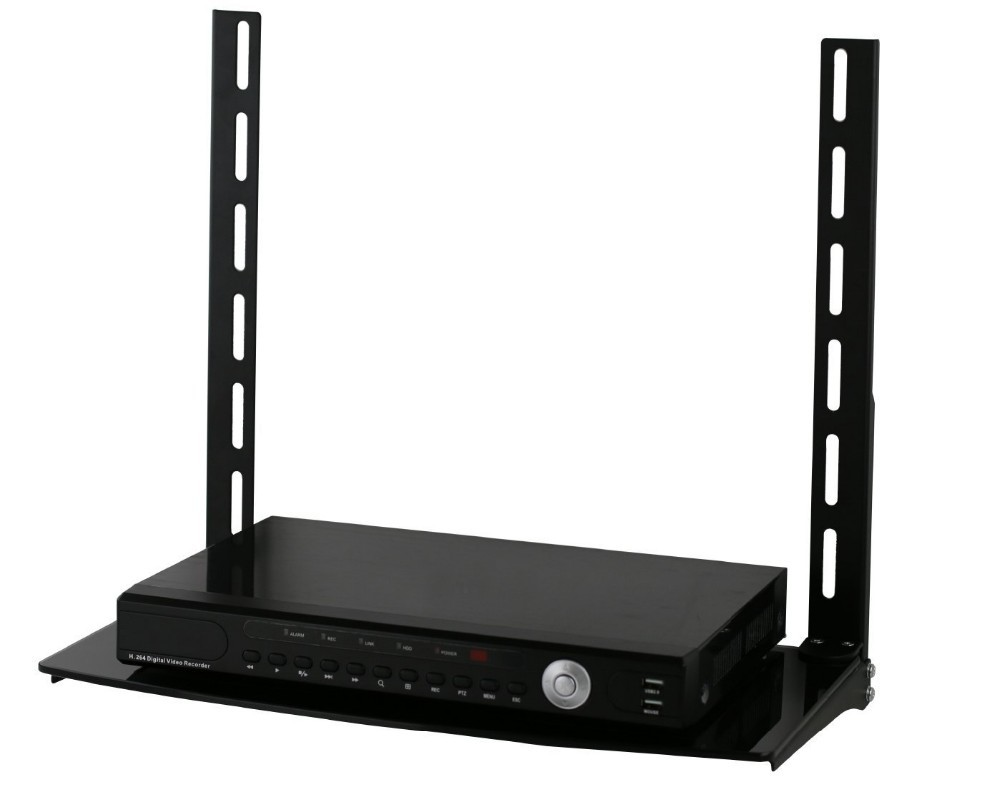 Low Profile Flat Panel TV Mount and Glass Entertainment Center Combo