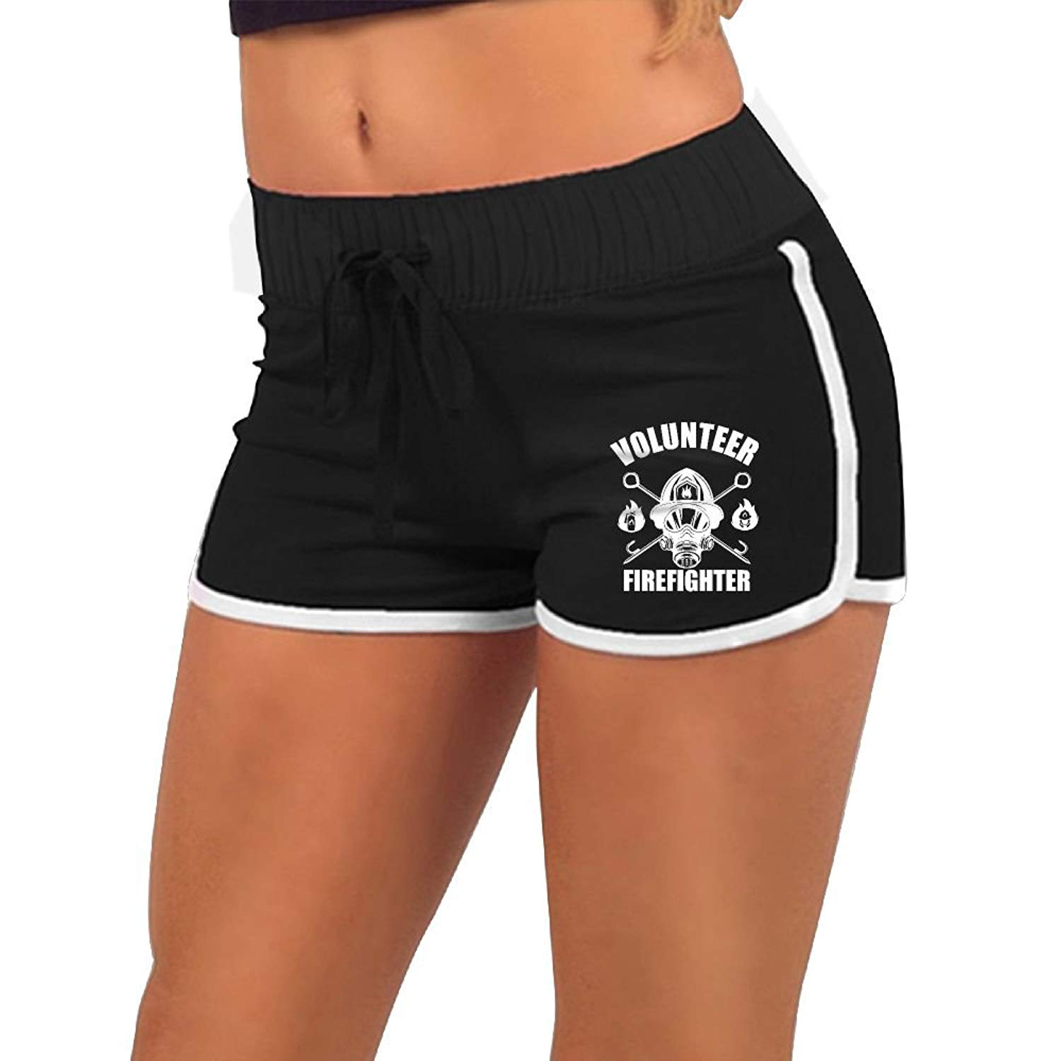 KENYYIOP Volunteer Firefighter Womens Yoga Shorts,Workout Shorts,Summer Pants,Running Shorts,Drawstring Waist Workout Shorts