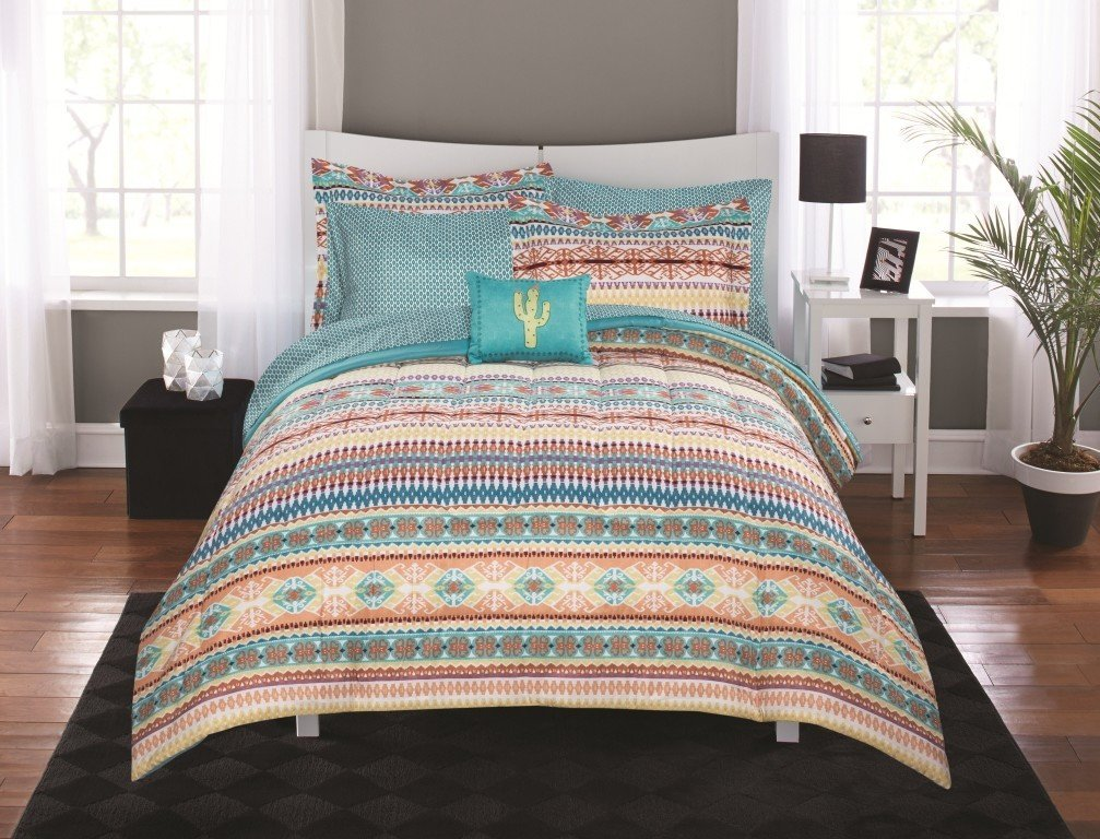 6 Piece Coral Teal Yellow Green Purple Striped Comforter Twin Twin Xl Set With Sheets, Multi Color Horizontal Stripes Aztec Pattern, Geometric Lattice Reversible Diamond Design Adult Bedding Polyester
