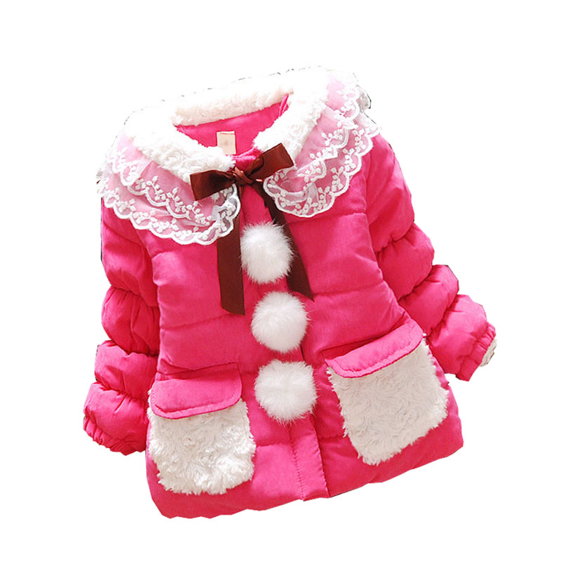 2015 New Childrens Kids Girls Winter Lace Coats Baby Jackets Thicker Section Children Outerwear Girls clothing Reima7 snowsuit