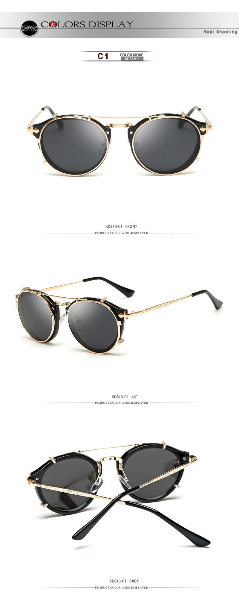 0473080574 Kdeam Happy Clip On Sunglasses Men Removable Round Glasses Women ...