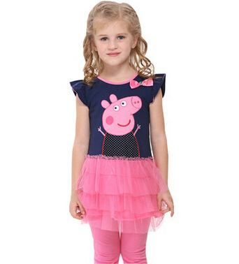princess girl peppa pig dress kids dresses for girls baby children clothing embroidery cartoon fashion summer