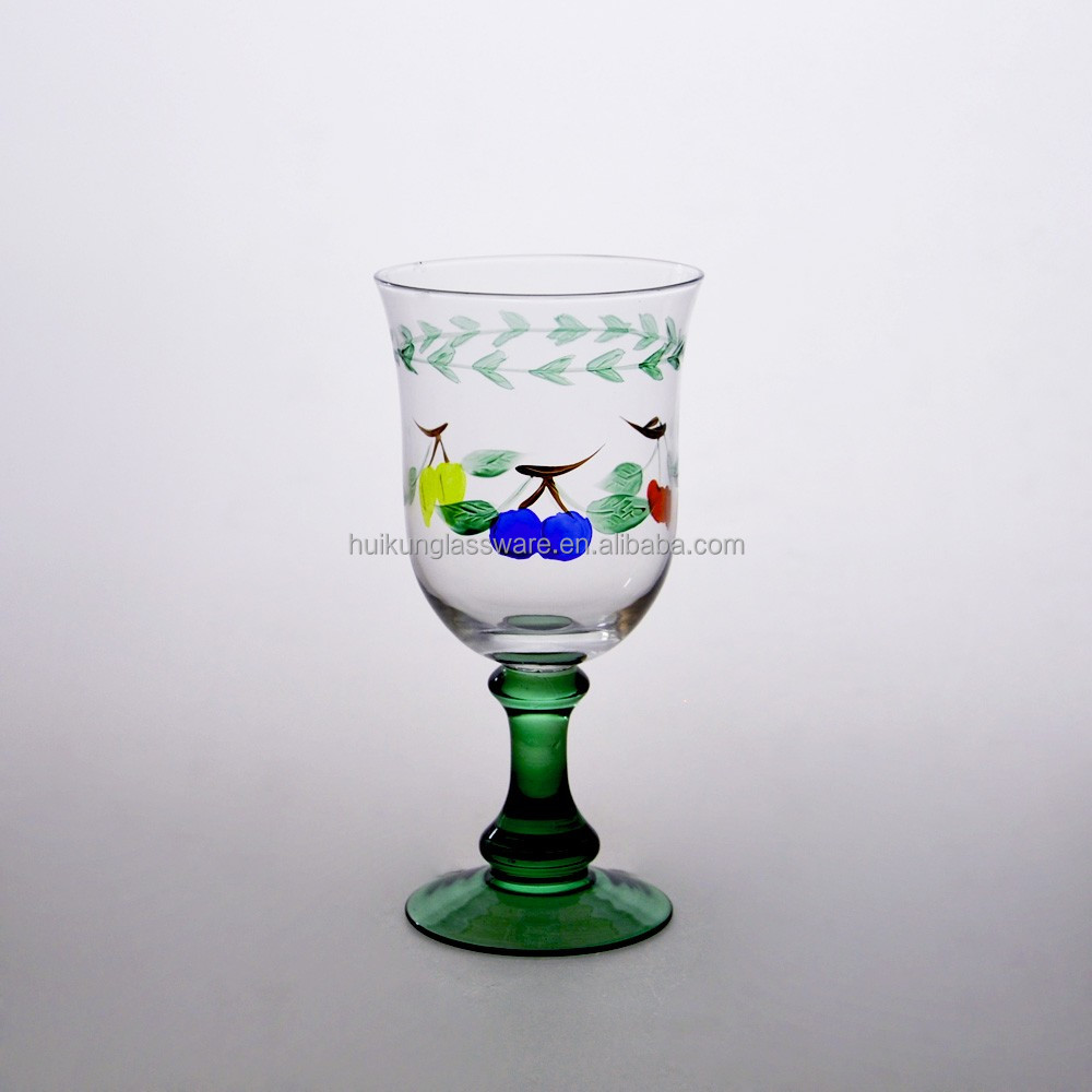 Popular Christmas Design Handmade Painting Glassware Wine Glass