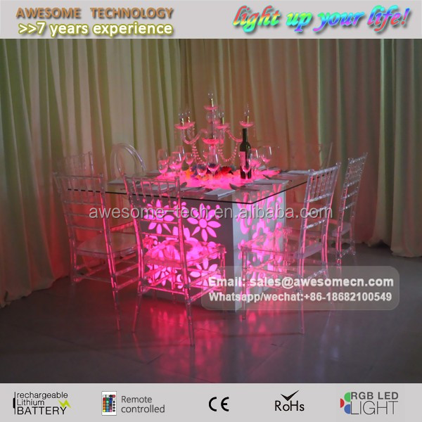 wedding use assembled led furniture folding glass dining table for sale