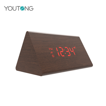 Small Digital Wooden Triangle Alarm LED Desk Clock With Calendar