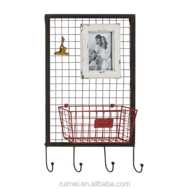 Red Basket Wire Photo Wall Rack Coat Hook Used Picture Framing Equipment