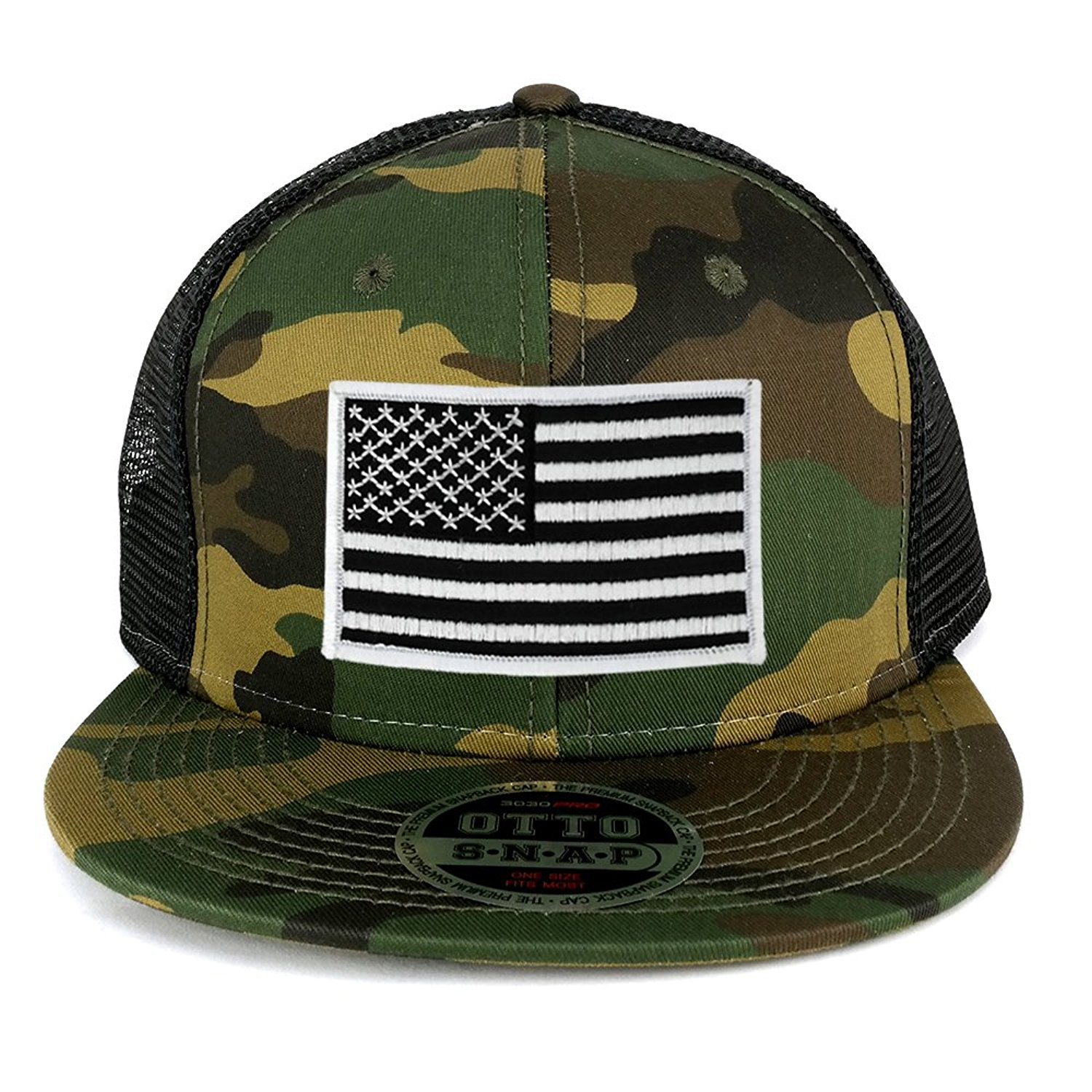9e288886352b17 Get Quotations · USA American Flag Embroidered Patch Camo Snapback Mesh Cap  - CAMO BLACK