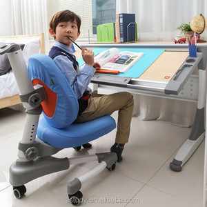 Adjustable height children desk and chair for homework