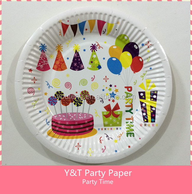 Yiwu Party supplies party time colorful printed cake gift hats 7 Inch round paper plate