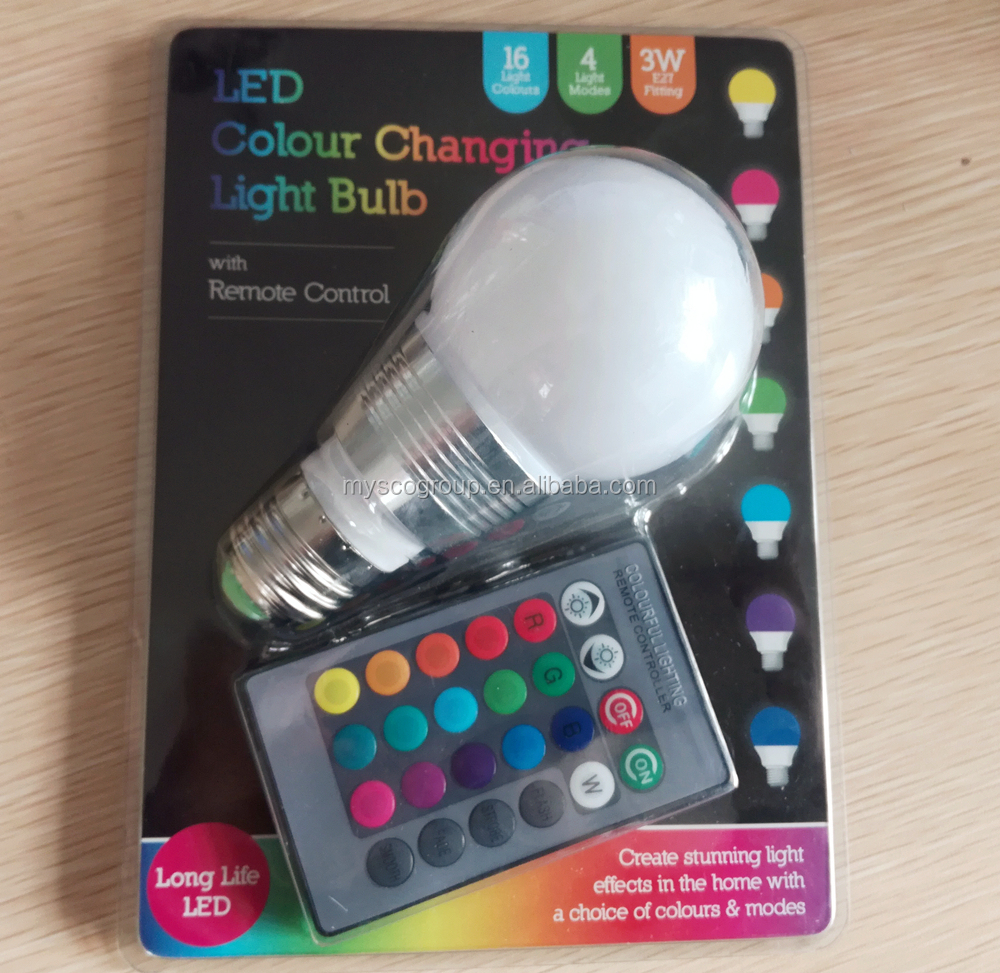 LED COLOUR CHANGING BULB WITH REMOTE CONTROL, 16 Color Changing RGB LED Light Bulb Change Lamp E27 With Remote Control