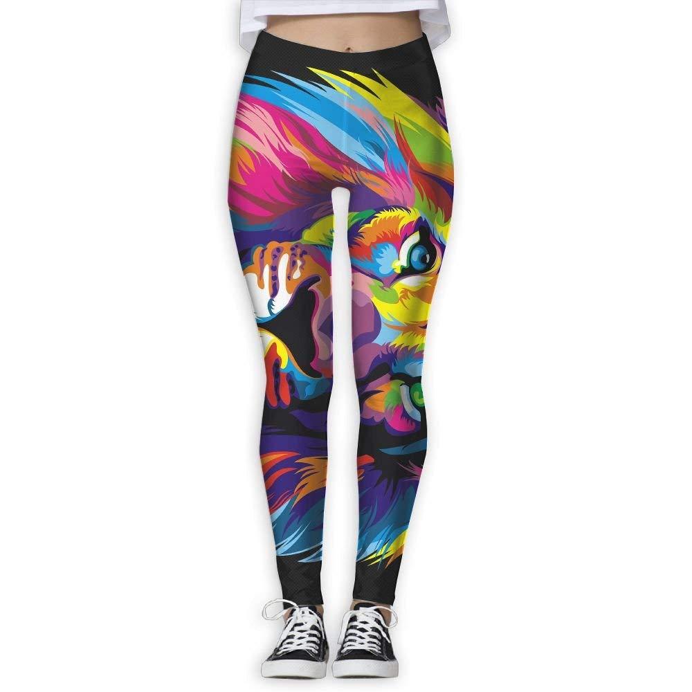 EWDVqqq Women/Girl Yoga Pant Artistic Colorfull Lion High Waist Fitness Workout Leggings Pants