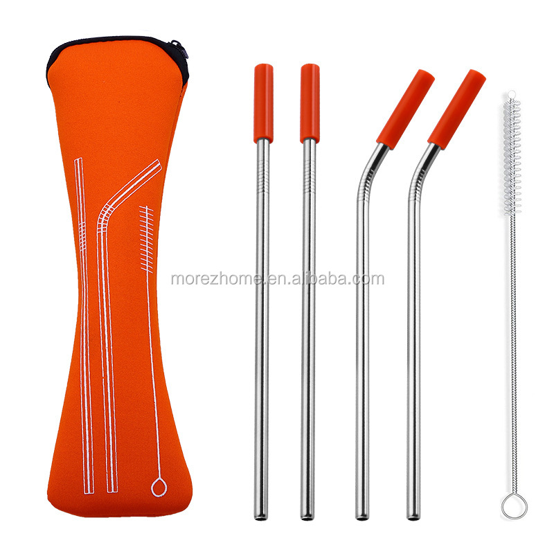 Morez 4pc 8.5'' wholesale stainless steel drinking Metal straw with cleaning brush and carry bag stainless steel straw
