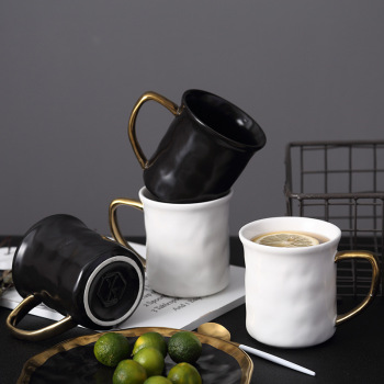 Black & White Coffee Milk Cup Gold Handle Ceramic Mugs