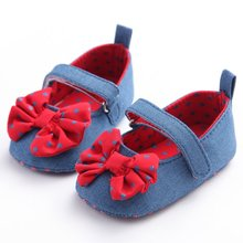 New Cute Baby Girls Shoes Dot Bownot Denim First Walkers Infant Casual Shoes 0 18M Free