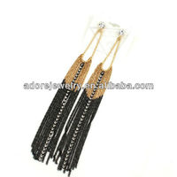 Fashion women long chain link rhinestones earrings 2013 design