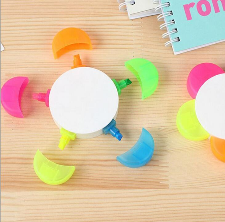 Promotional Cheap Flower Shape Highlighter Pen 5 in 1Multicolor Yellow Pink Blue Green Orange Color Highlighter Pen