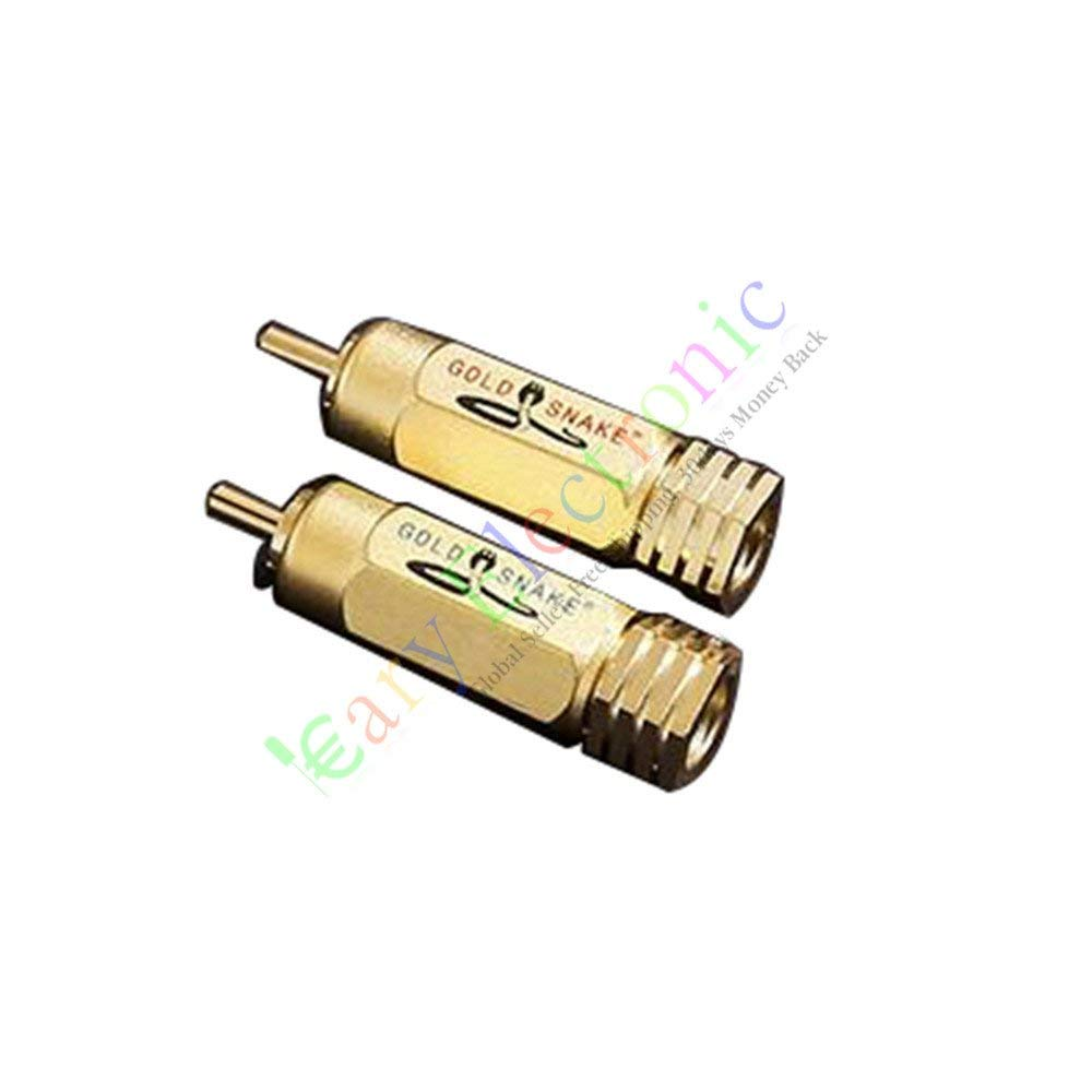 Cayyi 4pc Gold Plated Copper RCA/AV Plug Screw Locking tube Audio HIFI Connector amp