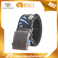 Hot Sale Men Priting Logo Canvas Jean Belt Strap For Automatic Buckles