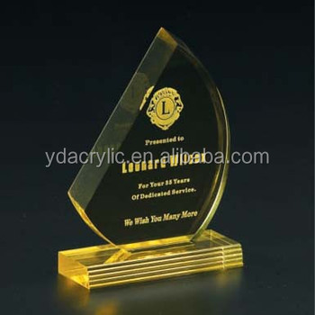 Customized Clear Acrylic Award Stand Display With Base Special Design Elegant Trophy Made In