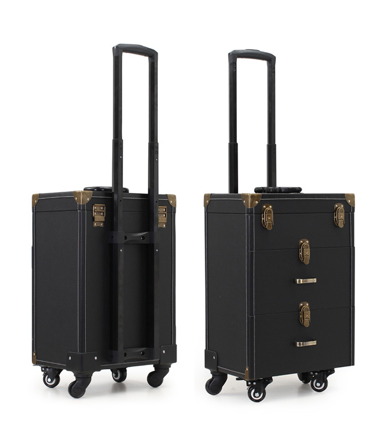 Luggage & Travel Bags Carry-ons Nail Trolley Makeup Box Beauty Case With Wheels Professional Makeup Box Bag Black And Pink 35x23x56cm