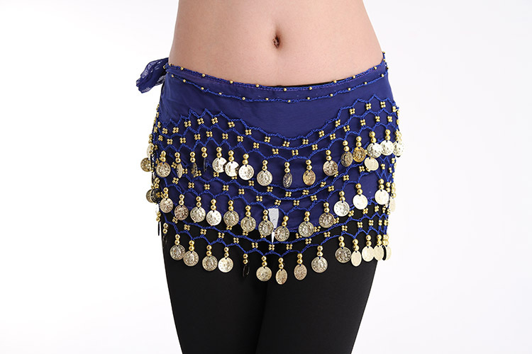 Hip Skirt Scarf Wrap Costume Belly Dance Belt with Rows Gold Coins