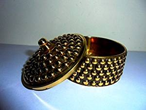 Artcollectibles India Decorative Brass Trinket Box -Sindoor Tika Box -Diwali christmas