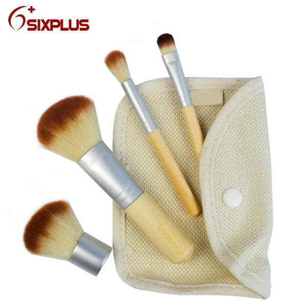 custom made makeup brushes/4 pcs travelling small brush set / Raw bamboo makeup brusshes