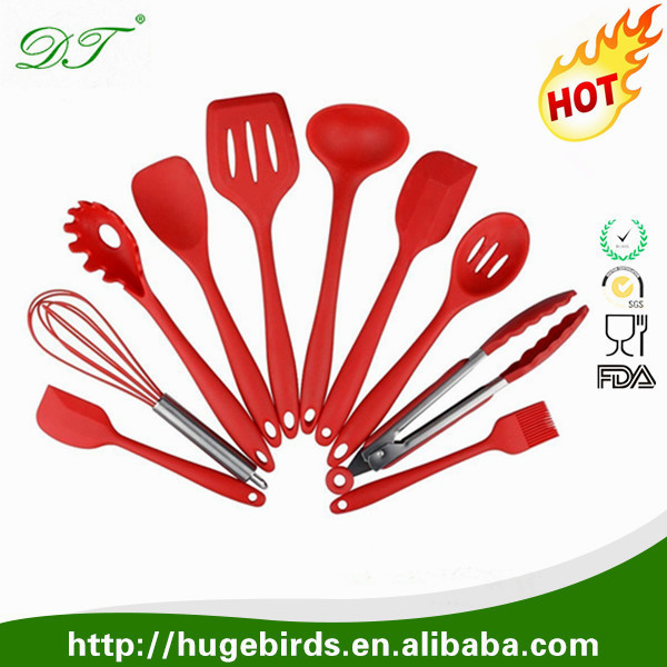 10 Piece Large silicone rubber Kitchen Utensils Cooking Utensil Set