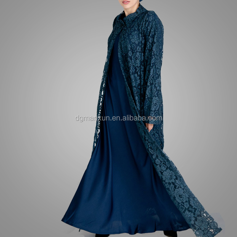 Stylish Product Type Islamic Women Clothing Modest Lace Style Front Open Turkish Kimono Abaya Moroccan Dress