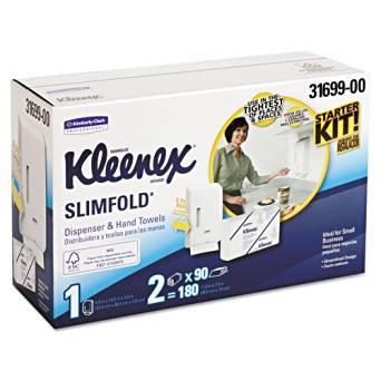 KIMBERLY-CLARK PROFESSIONAL* KLEENEX SLIMFOLD Hand Towel Dispenser Starter Kit, 14.93x13.13x8.5, White - one towel dispenser and two paper towel clips.