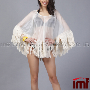 Women's Chiffon Sheer Poncho Blouses Beach Wear Cover Up With Tassels