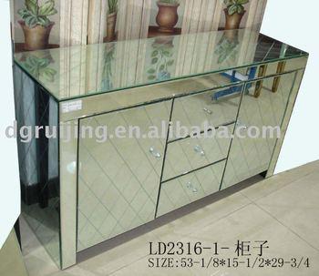 Sleekmodern Mirrored Table Venetian Mirror Chest CabinetMirrored - Venetian glass bedroom furniture