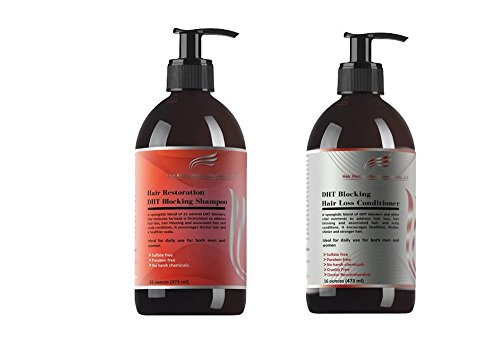 HAIR RESTORATION LABORATORIES' OVER 20 DHT BLOCKING HAIR LOSS SHAMPOO & CONDITIONER-16 OUNCES. THE MOST EFFECTIVE HAIR LOSS SHAMPOO & CONDITIONER EVER DEVELOPED FOR MEN & WOMEN.