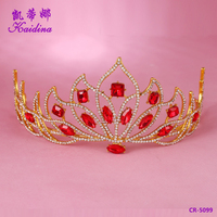 WQ Hot sales custom beauty stone Red diamond bridal wedding tiaras and crown