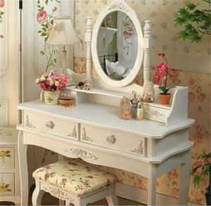 Hand Painted Apartment Bedroom Dressers Modern White Color Dresser With Stool Princess Makeup Table K/D Dresser Package 90*38*1