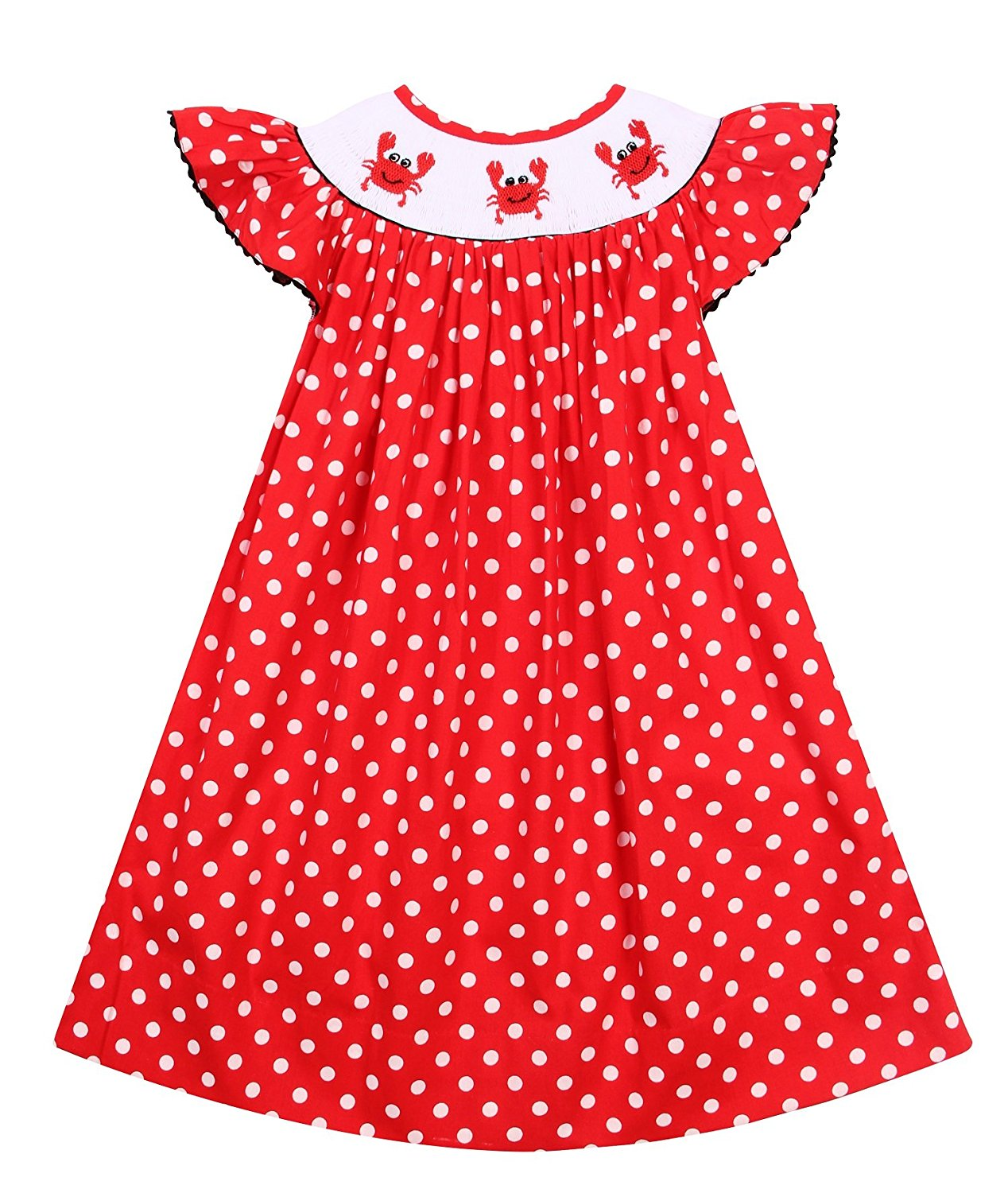 7ef11a229 Get Quotations · Babeeni Red Dress for Girls with Little Cute Crab Hand- Smocked Patterns and Angel Sleeves
