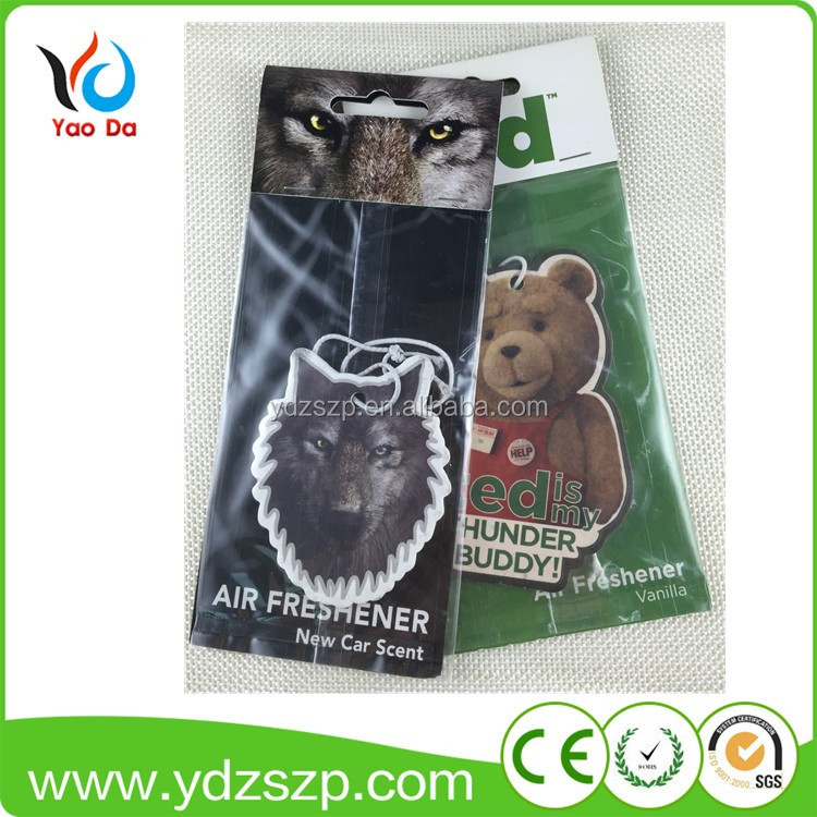 Custom best smelling hanging perfumed pine tree paper car air freshener for car