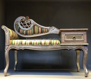 retro imperial style baroque striped chaise lounge vintage european style lounge chair with telephone stand