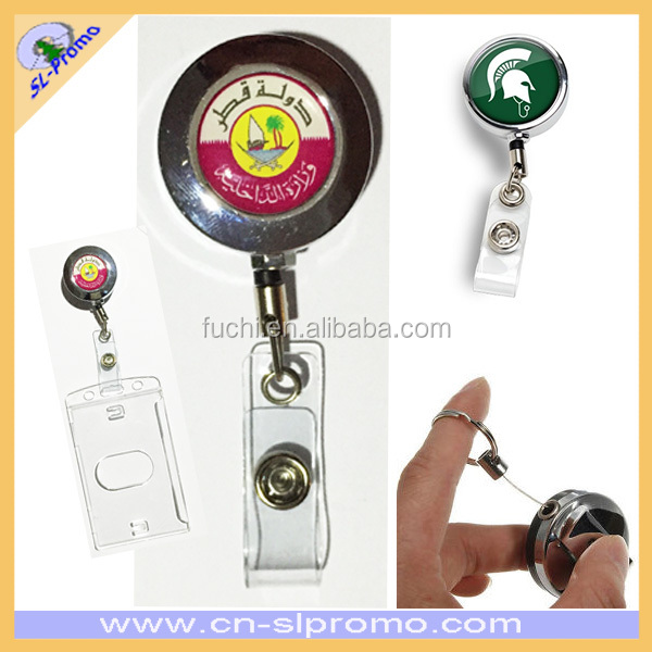 Promotional Custom Design Retractable Metal Badge Reel