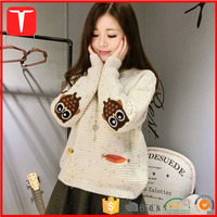 Ladies fashion design winter pullover sweater korean women with elbow patches