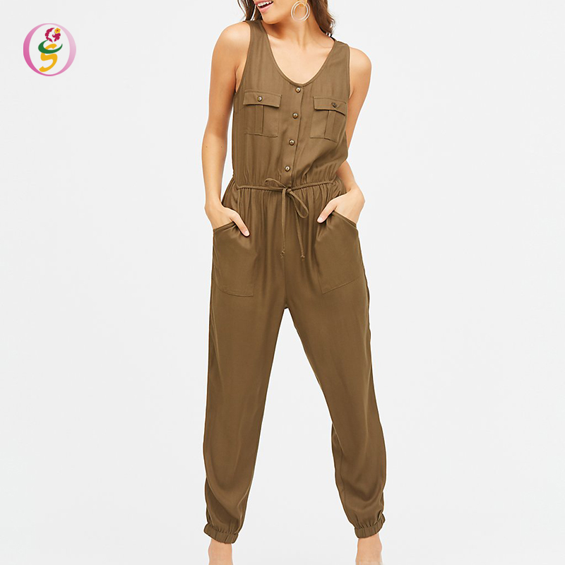 Neue Mode-Taste-Up Overalls Sommer Hot Sexy Scoop Neck Overall