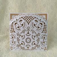Customized Rustic Invitation White Lace Laser Cut Pocket Rustic Ribbon Card Printable Wedding Invitation Bridal Shower Invite